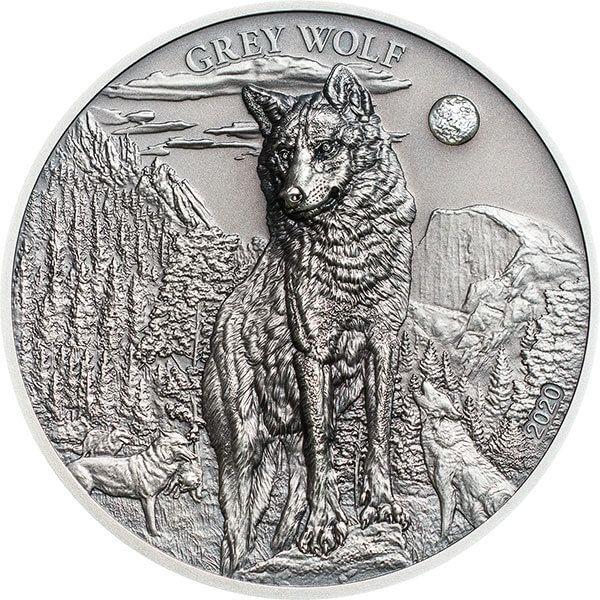 Grey Wolf 1 oz Antique Finish Silver Coin 5$ Palau 2020