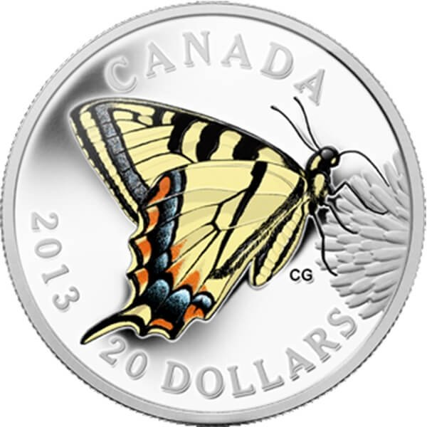 Canada 2013 20$ Canadian Tiger Swallowtail Butterflies of Canada  Proof Silver Coin