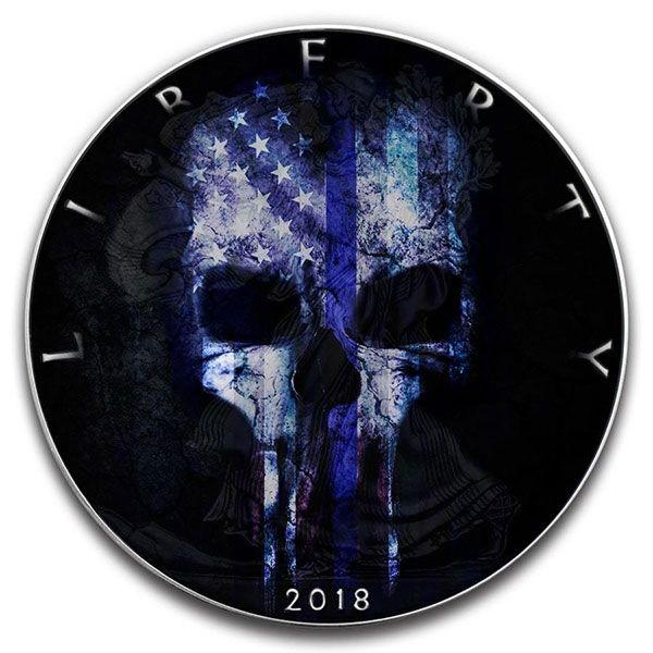 Blue Line Skull American Silver Eagle 1oz Black Ruthenium BU Silver Coin 1$ United States 2018