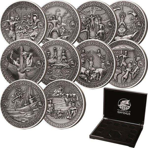 The Adventures of Odysseus 10x2 oz Antigue finish Silver Set 10x5$ Solomon Islands 2018
