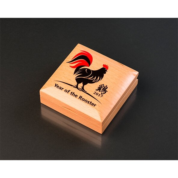 Mongolia 2017 500 togrog Lunar Year of the Rooster Black Proof Coin