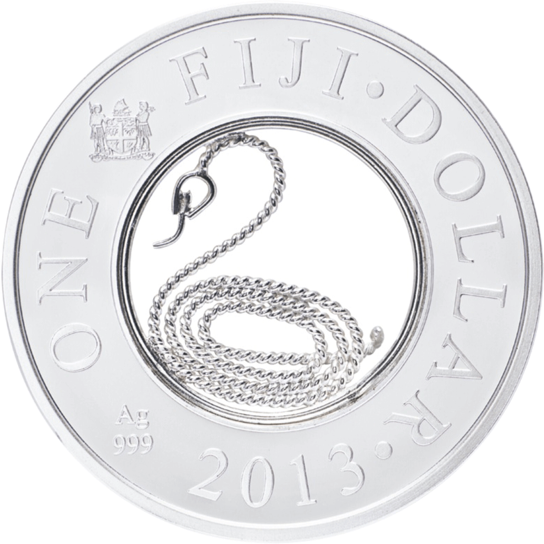 Fiji 2013 1$ Year of the Snake Filigree Proof Silver Coin
