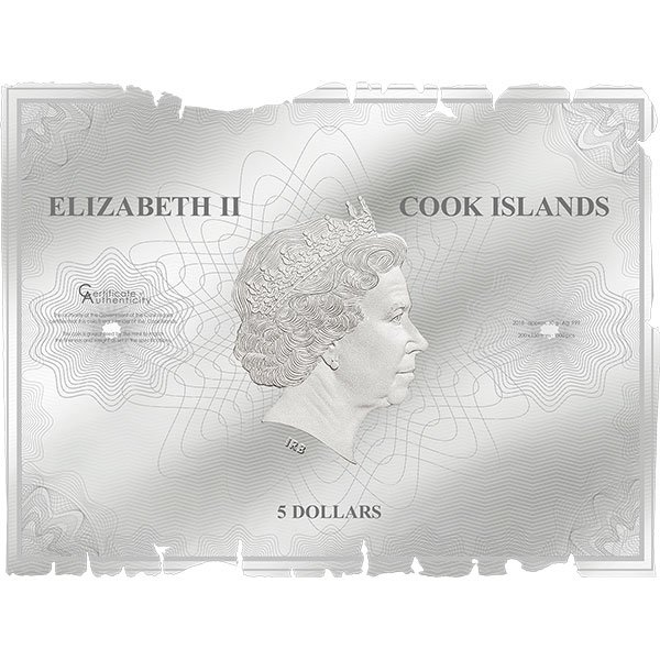 Waldseemueller – Historical Maps Proof-like Silver Coin 5$ Cook Islands 2018