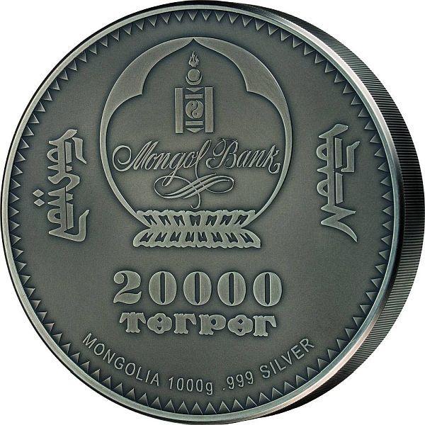 Sinraptor Evolution of Life 1 Kilo Antique Finish Silver Coin Mongolia 2020 20000 togrog