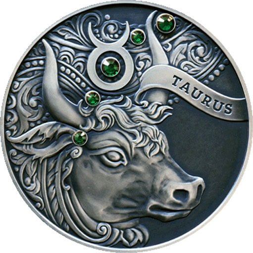 Belarus 2014 20 rubles Taurus Signs of the zodiac  Antique finish Silver Coin