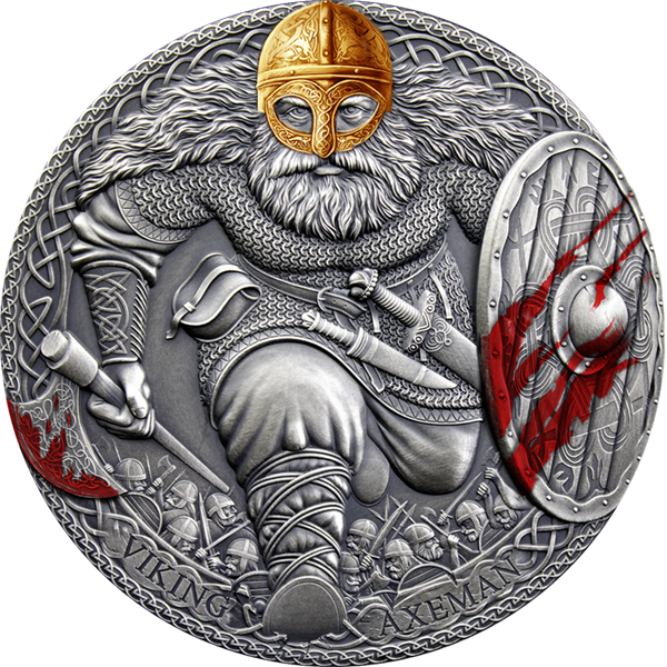 Viking Axeman Legendary Warriors 3 oz Antique finish Silver Coin 3000 Francs CFA Cameroon 2020