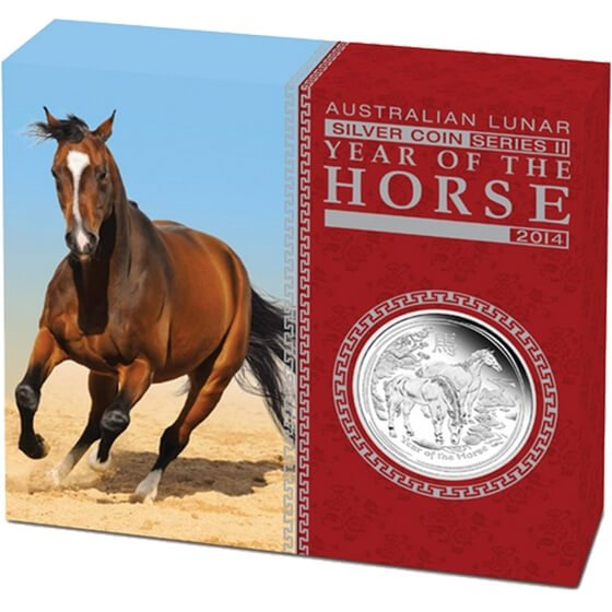 Australia 2014 0.5$ Australian Lunar Series II 2014 Year of the Horse 1/2oz Silver Proof Coin