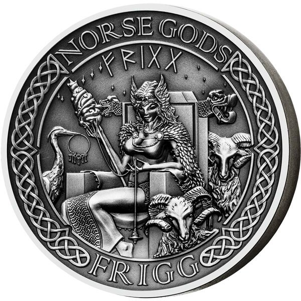 Cook Islands 2015 10$ The Norse Gods - Frigg 2 oz Antique finish Silver Coin