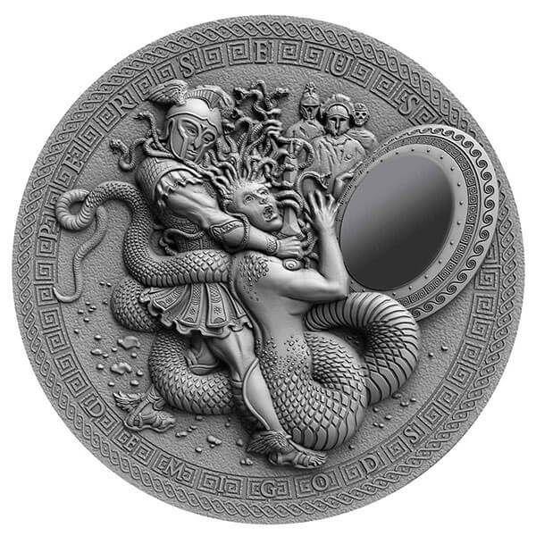 Perseus Demigods 2oz Antique Finish Silver Coin 2$ Niue 2018