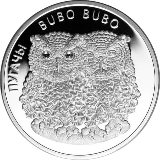 Belarus 2010 20 rubles Eagle Owls Bubo Bubo Proof Silver Coin