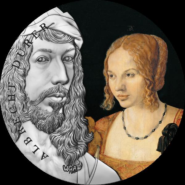 Albrecht Dürer World's Greatest Artists 2 oz Antique finish Silver Coin 10 Cedis Republic of Ghana 2021