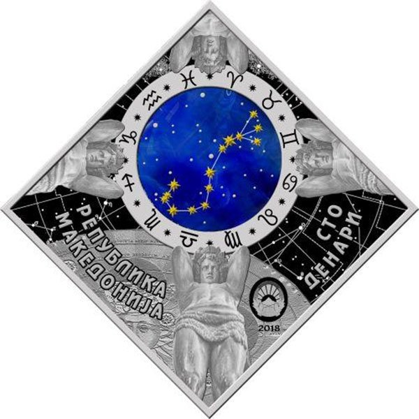 Scorpio Zodiac signs 2018 Proof Silver Coin 100 Denars Macedonia 2018