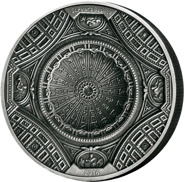 Cook Islands 2016 20$ 4 Layer Coin St Peters Basilica 100g Antique finish Silver Coin
