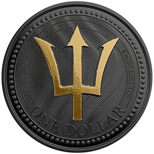 Trident Golden Enigma Edition 1 oz Black Ruthenium BU Silver Coin 1$ Barbados 2017