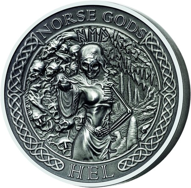 Cook Islands 2015 10$ The Norse Gods - Hel Antique finish Silver Coin
