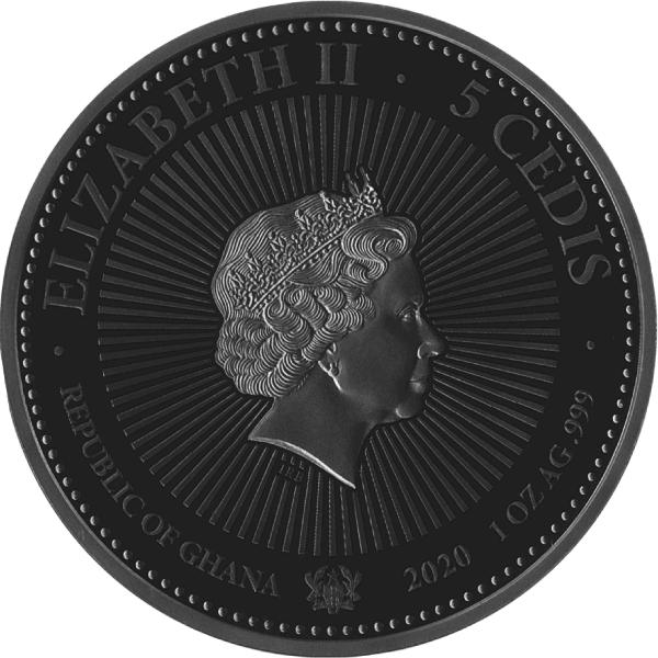 Sapphire The Jewel Coin 1 oz BU Silver Coin 5 Cedis Republic of Ghana 2020