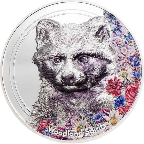 Woodland Spirits Raccoon Dog 1 oz Proof Silver Coin 500 togrog Mongolia 2020
