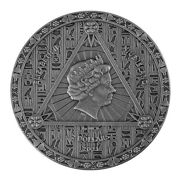 Egyptian Calendar 2 oz Antique finish Silver Coin 2$ Niue 2021