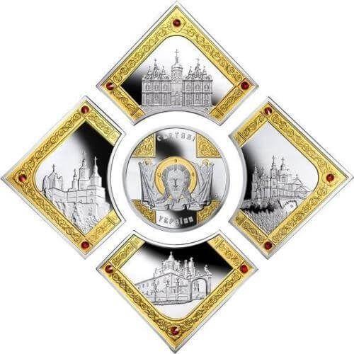 Sanctuaries of Ukraine 10g+4x12g Proof Silver Set 5x2$ Niue 2014