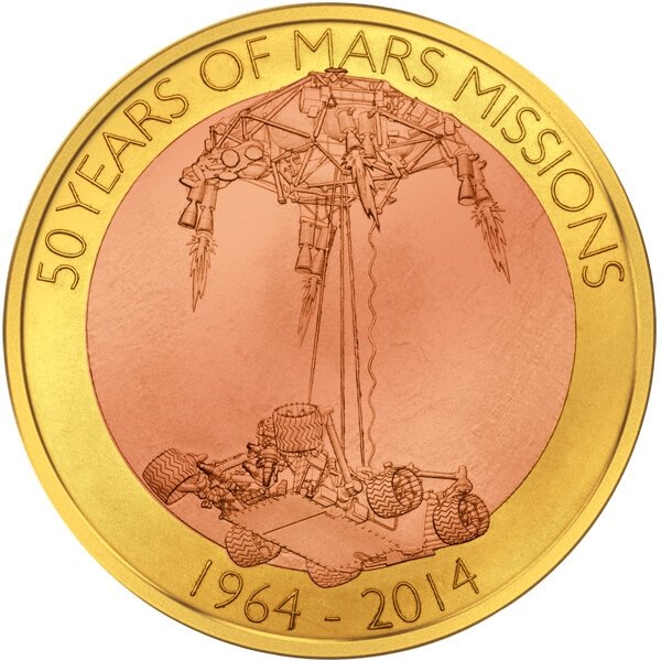 Samoa 2014 1$ First Floating Coin - 50 years of Mars Mission BU 60 g Base-metal Coin
