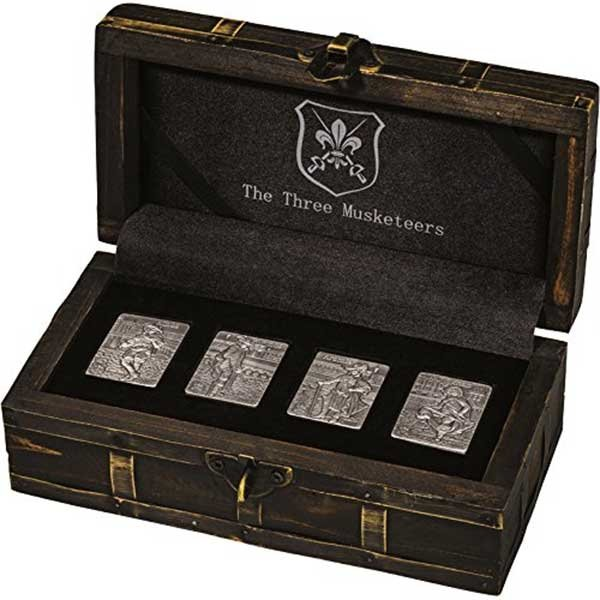 The Three Musketeers 4x1oz Proof-like Silver Coin Set 4x250 Francs Djibouti 2018