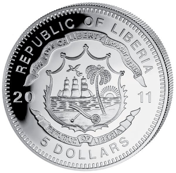 Liberia 2011 5$ Austrian State Railroad. History of Railroads Proof Silver Coin