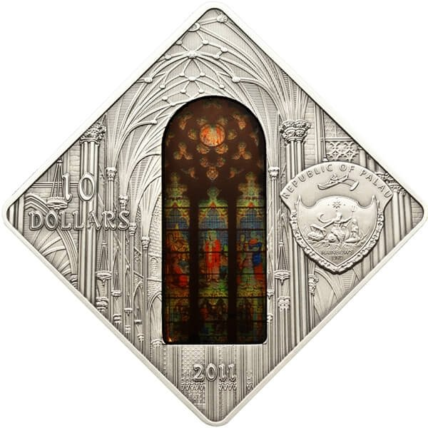Palau 2011 10$ St. Patrick's Cathedral New York Sacred Art - Holy Windows UNC Silver coin