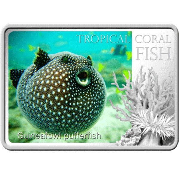 Niue 2013 1$ Pufferfish  Tropical Fish Proof Silver Coin
