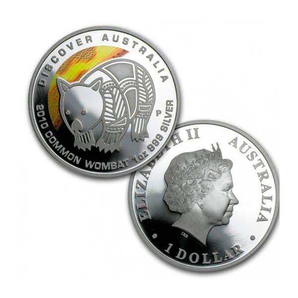 Discover Australia - Wombat Colored Proof Silver Coin 1$ Australia 2010