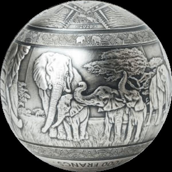 Elephant The Big Five Wildlife 1 Kilo Antique finish Silver Coin 1000 Francs Djibouti 2020