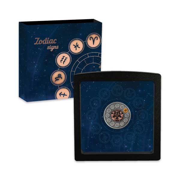 Gemini Zodiac Signs 1oz Antique finish Silver Coin 1$ Niue 2020