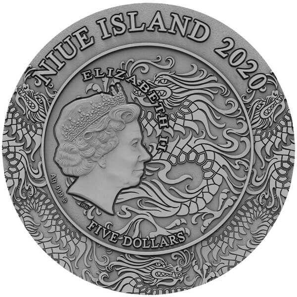Lyu Bu Ancient Chinese Warrior 2 oz Antique Finish Silver Coin 5$ Niue 2020