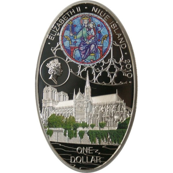 Notre-Dame Gothic cathedrals Proof Silver Coin 1$ Niue 2010