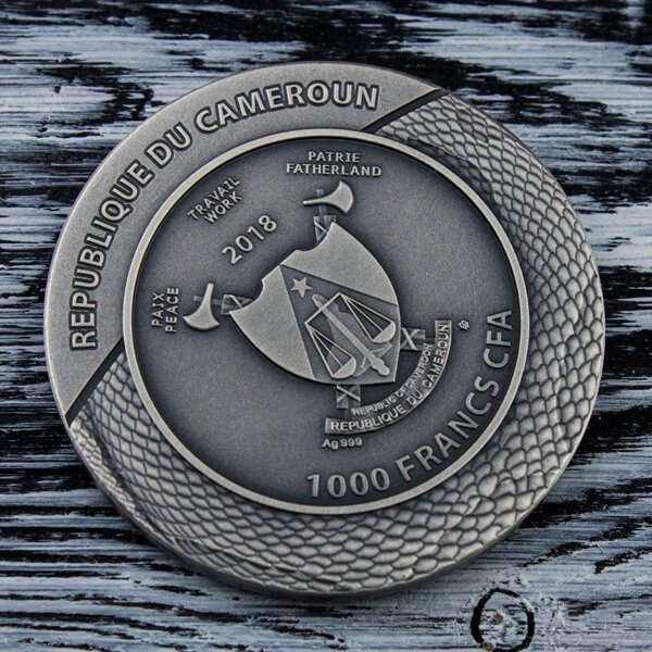 Clade Mortis Carved Skull  1 oz Antique finish Silver Coin 1000 Francs Cameroon 2018