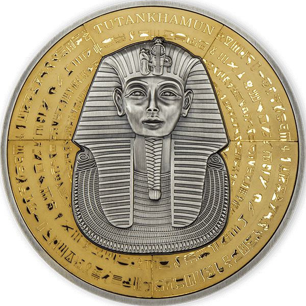 The Mask of Tutankhamun Puzzle Coin  100th Anniversary  500g Antique finish Silver Coin 500 Francs Djibouti 2022
