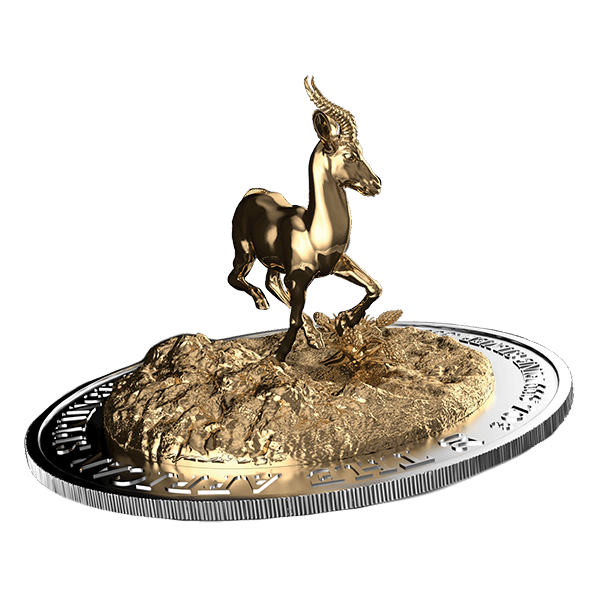 Gabon 2014 2000 Franks CFA Full Dimensional 3 oz Silver Springbok Silver Coin