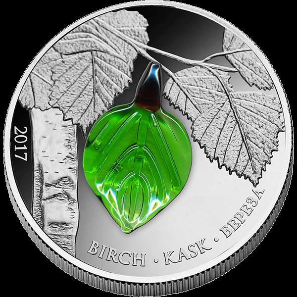 Equatorial Guinea 2017 1000 Francs Birch Leaf Summer Proof Silver Coin