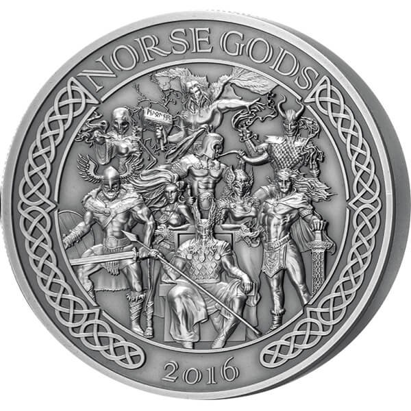 Cook Islands 2016 25$ The Norse Gods - Odin Thor Loki Heimdall Hel Sif Freyr Frigg Tyr 5 oz Antique finish Silver Coin