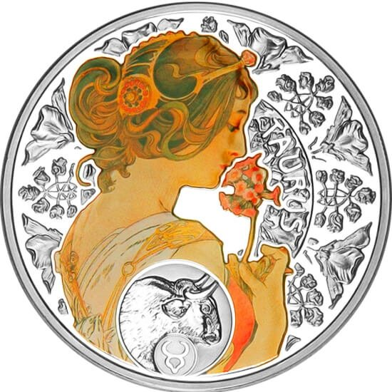 Niue 2011 1$ Taurus A. Mucha Zodiac Proof Silver Coin