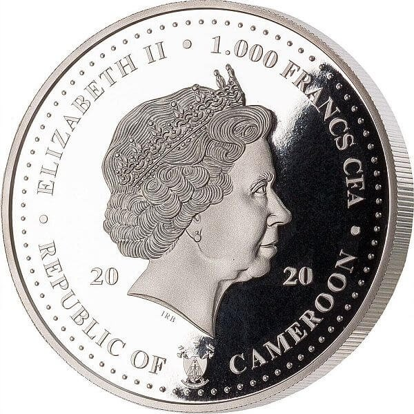 Grace Kelly 1 oz BU Silver Coin 1000 Francs CFA Cameroon 2020
