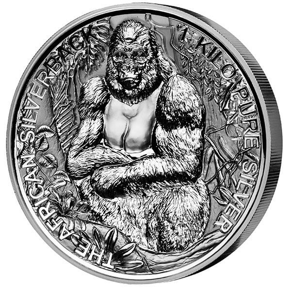 The African Silverback 1 Kilo Reverse Proof Silver Coin 2000 Francs Djibouti 2018