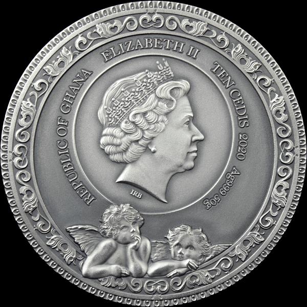 Raphael 500 Anniversary 50 g Antique finish Silver Coin 10 Cedis Republic of Ghana 2020