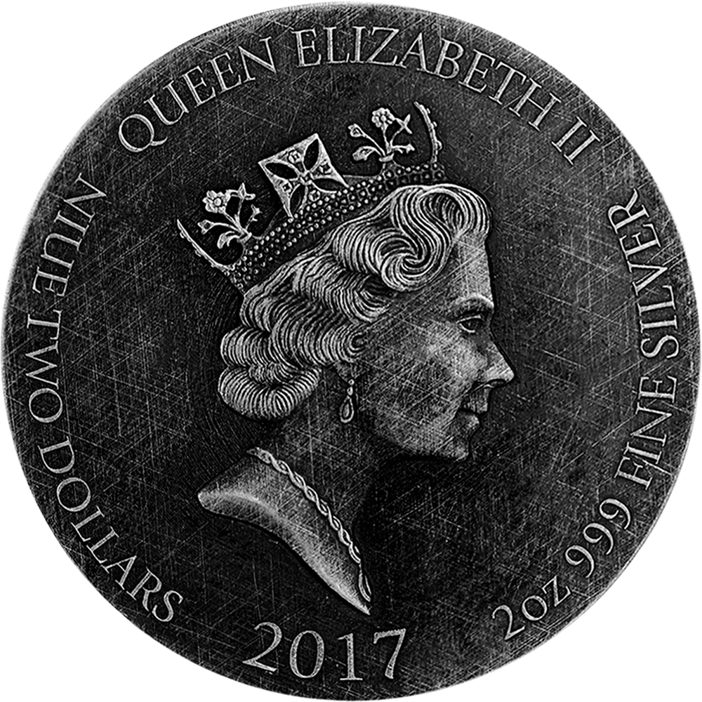 Jacob Wrestles the Angel Biblical Coin 2 oz  BU Silver Coin 2$ Niue 2017