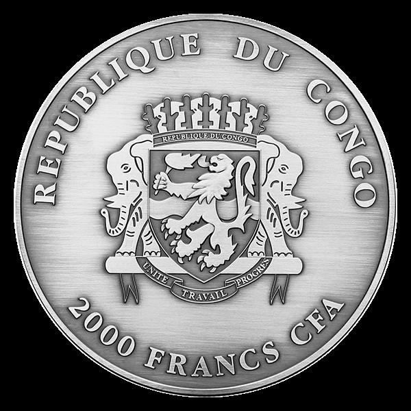 Congo 2014 2000 franc Nature's Eyes Bubo Bubo  2 oz Proof Silver Coin