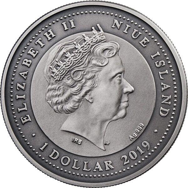 Libra Zodiac Signs 1 oz Antique Finish Silver Coin 1$ Niue 2019