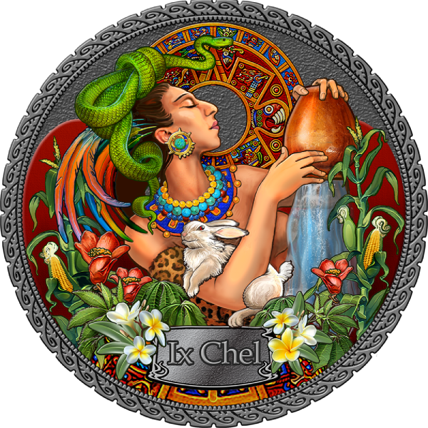 Ix Chel Goddesses of Health 50 g Antique finish Silver Coin 5 Cedis Republic of Ghana 2021