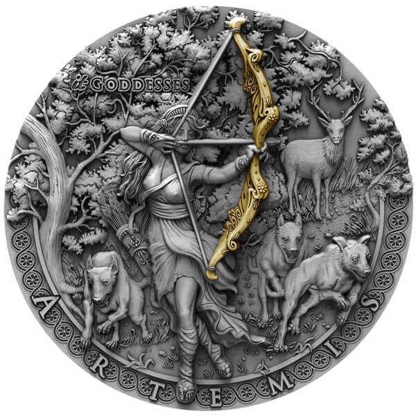 Artemis itGoddesses 2 oz Antique Finish Silver Coin 2$ Niue 2019
