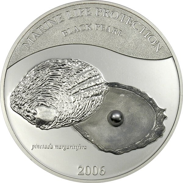 Palau 2006 5$ Black Pearl Marine Life Protection Proof Silver Coin