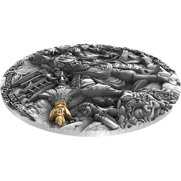 Duowentian Four Heavenly Kings 2 oz Antique finish Silver Coin 5$ Niue 2020