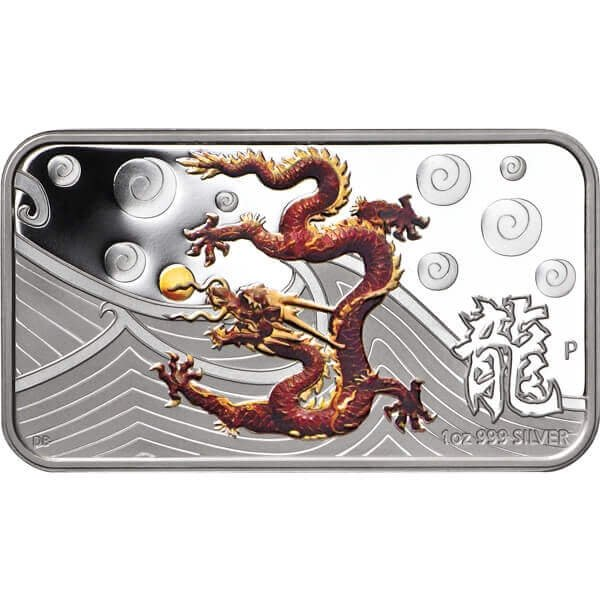Year of the Dragon Rectangle - Brown Proof Silver Coin 1$ Cook Islands 2012